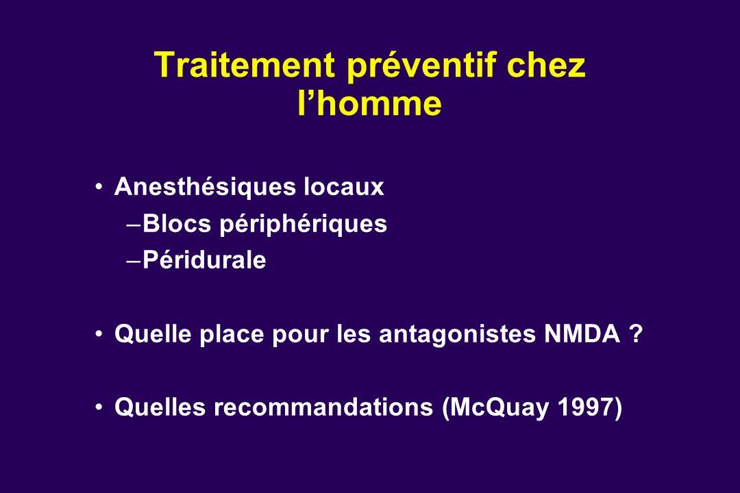 Anesthésiques locaux –Blocs périphériques –Péridurale Quelle place pour les antagonistes NMDA ? Quelles recommandations (McQuay 1997) Traitement préve