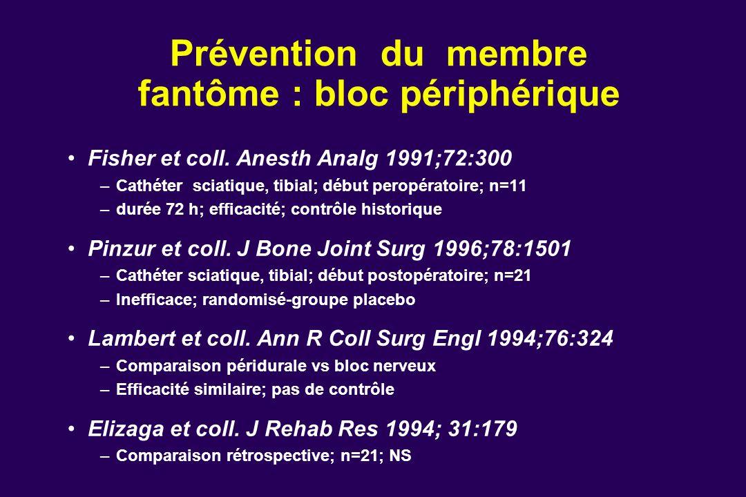 Prévention du membre fantôme : bloc périphérique Fisher et coll. Anesth Analg 1991;72:300 –Cathéter sciatique, tibial; début peropératoire; n=11 –duré