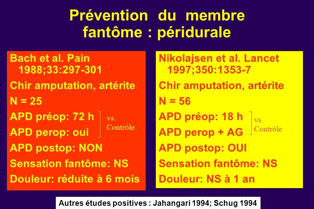 Bach et al. Pain 1988;33:297-301 Chir amputation, artérite N = 25 APD préop: 72 h APD perop: oui APD postop: NON Sensation fantôme: NS Douleur: réduit