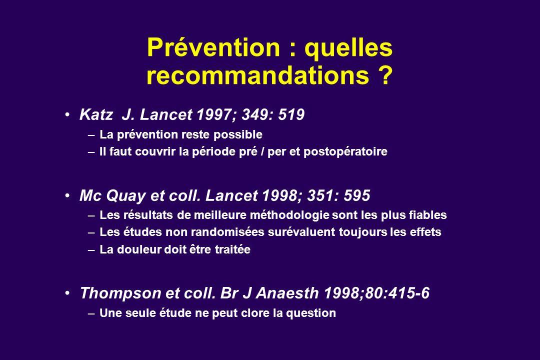 Prévention : quelles recommandations ? Katz J. Lancet 1997; 349: 519 –La prévention reste possible –Il faut couvrir la période pré / per et postopérat