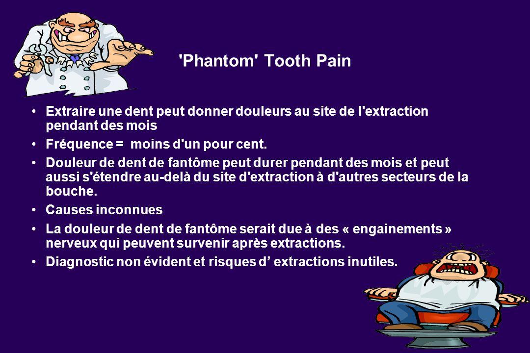 'Phantom' Tooth Pain Extraire une dent peut donner douleurs au site de l'extraction pendant des mois Fréquence = moins d'un pour cent. Douleur de dent