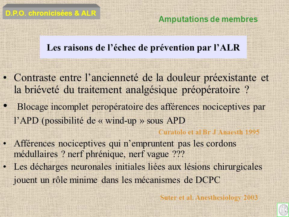 Les raisons de léchec de prévention par lALR Contraste entre lancienneté de la douleur préexistante et la briéveté du traitement analgésique préopérat