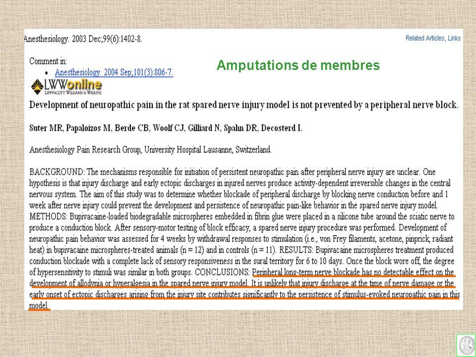 Les douleurs de membre fantôme diminuent en fréquence et en intensité au fil du temps sont dautant plus fréquentes que le membre amputé était douloureux (Nikolajsen et al Pain 1997) ne sont pas TOUJOURS influencées par la pratique dune analgésie pré et peropératoire (Nikolajsen Br J Anaesth 1998, Lancet 1997) contrairement à ce qui était espéré ( Bach et al Pain 1988) NON OUI Amputations de membres Que conclure en 2005 .