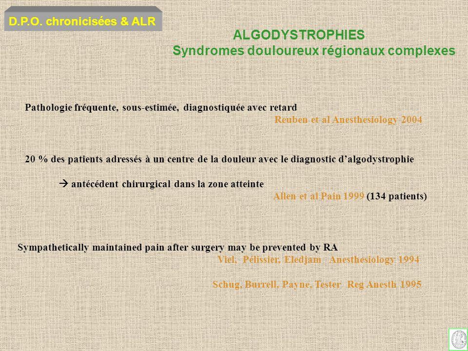 ALGODYSTROPHIES Syndromes douloureux régionaux complexes D.P.O. chronicisées & ALR Pathologie fréquente, sous-estimée, diagnostiquée avec retard Reube