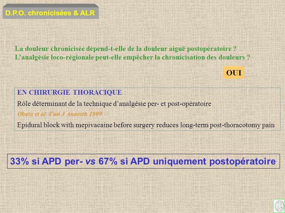 EN CHIRURGIE THORACIQUE : Rôle déterminant de la technique danalgésie per- et post-opératoire Obata et al Can J Anaesth 1999 Epidural block with mepiv
