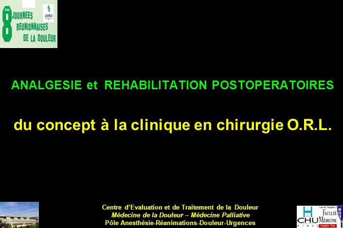 ANALGESIE et REHABILITATION POSTOPERATOIRES du concept à la clinique en chirurgie O.R.L. Centre dEvaluation et de Traitement de la Douleur Médecine de