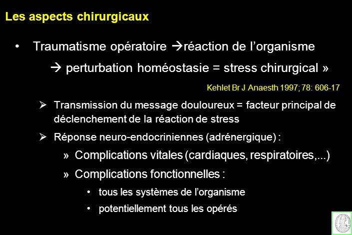 Les aspects chirurgicaux Traumatisme opératoire réaction de lorganisme perturbation homéostasie = stress chirurgical » Kehlet Br J Anaesth 1997; 78: 6