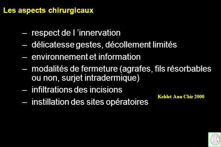 –respect de l innervation –délicatesse gestes, décollement limités –environnement et information –modalités de fermeture (agrafes, fils résorbables ou