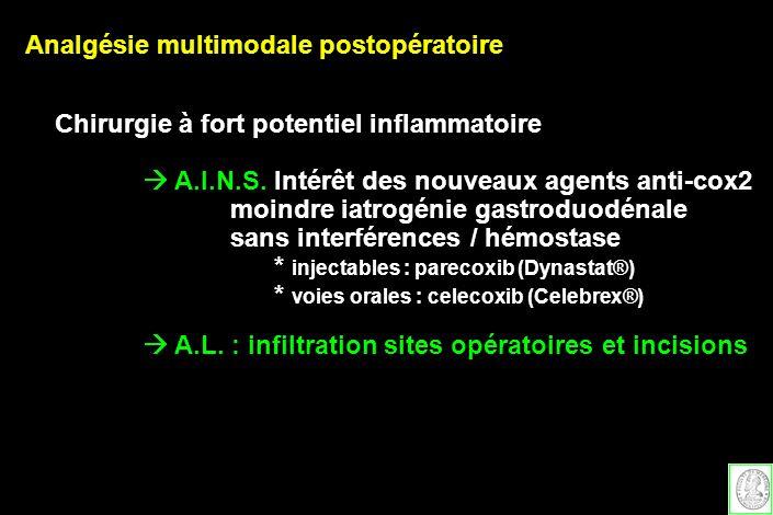 Analgésie multimodale postopératoire Chirurgie à fort potentiel inflammatoire A.I.N.S. Intérêt des nouveaux agents anti-cox2 moindre iatrogénie gastro