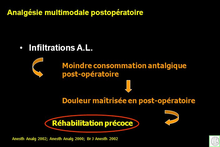 Infiltrations A.L. Moindre consommation antalgique post-opératoire Douleur maîtrisée en post-opératoire Réhabilitation précoce Anesth Analg 2002; Anes