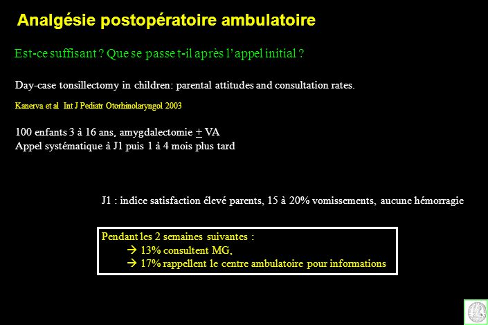 Day-case tonsillectomy in children: parental attitudes and consultation rates. Kanerva et al Int J Pediatr Otorhinolaryngol 2003 Est-ce suffisant ? Qu