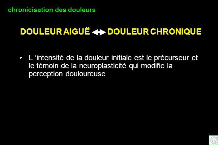 DOULEUR AIGUË DOULEUR CHRONIQUE L intensité de la douleur initiale est le précurseur et le témoin de la neuroplasticité qui modifie la perception doul