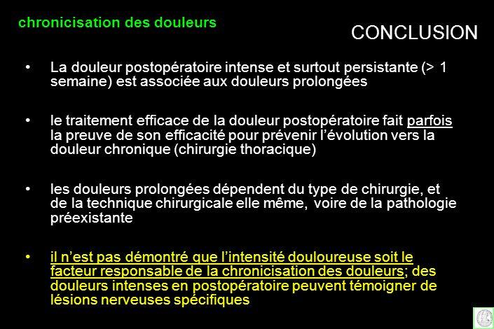 CONCLUSION La douleur postopératoire intense et surtout persistante (> 1 semaine) est associée aux douleurs prolongées le traitement efficace de la do