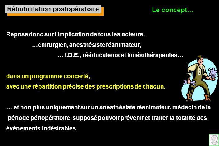 Repose donc sur limplication de tous les acteurs, …chirurgien, anesthésiste réanimateur, … I.D.E., rééducateurs et kinésithérapeutes… dans un programm