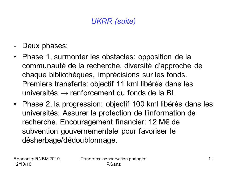 Rencontre RNBM 2010, 12/10/10 Panorama conservation partagée P.Sanz 11 UKRR (suite) -Deux phases: Phase 1, surmonter les obstacles: opposition de la communauté de la recherche, diversité dapproche de chaque bibliothèques, imprécisions sur les fonds.