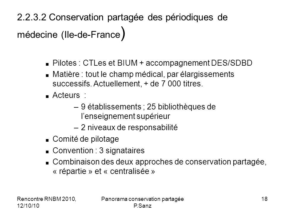 Rencontre RNBM 2010, 12/10/10 Panorama conservation partagée P.Sanz 18 2.2.3.2 Conservation partagée des périodiques de médecine (Ile-de-France ) Pilotes : CTLes et BIUM + accompagnement DES/SDBD Matière : tout le champ médical, par élargissements successifs.