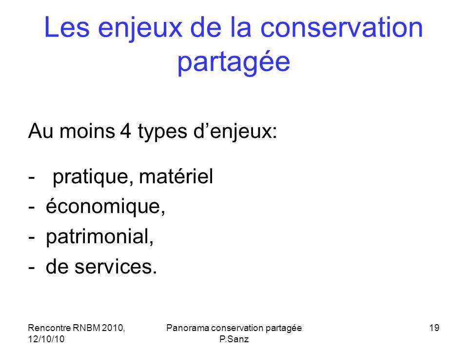 Rencontre RNBM 2010, 12/10/10 Panorama conservation partagée P.Sanz 19 Les enjeux de la conservation partagée Au moins 4 types denjeux: - pratique, ma