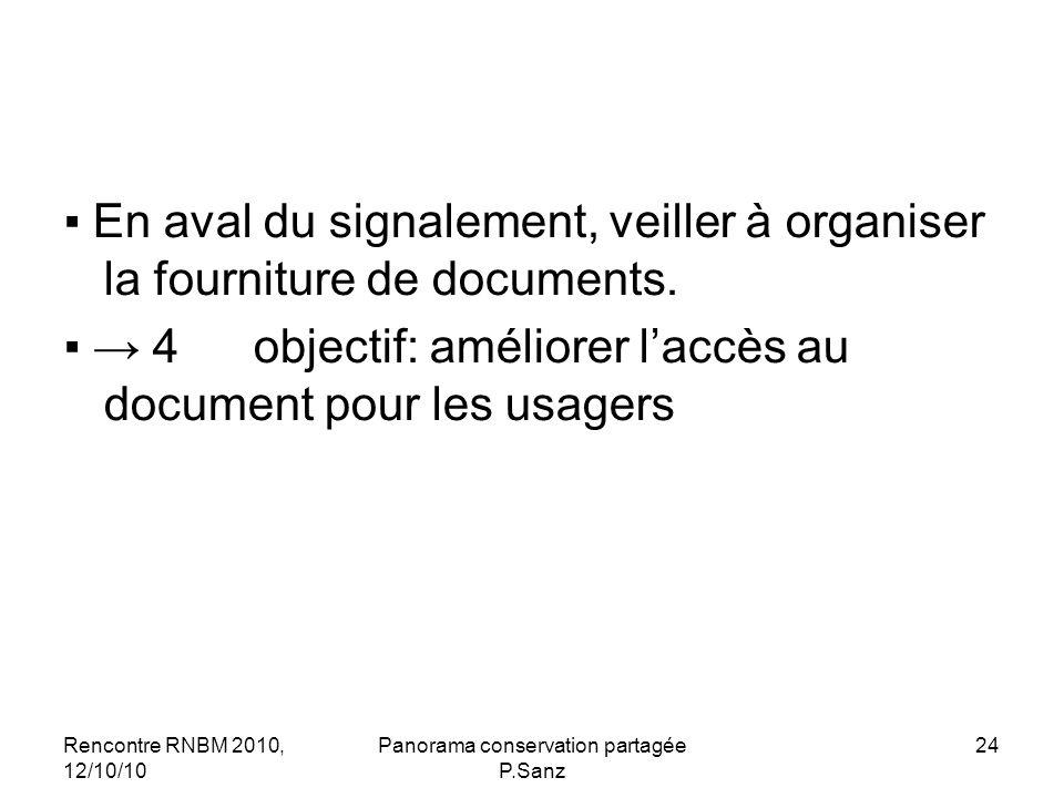 Rencontre RNBM 2010, 12/10/10 Panorama conservation partagée P.Sanz 24 En aval du signalement, veiller à organiser la fourniture de documents. 4 ème o