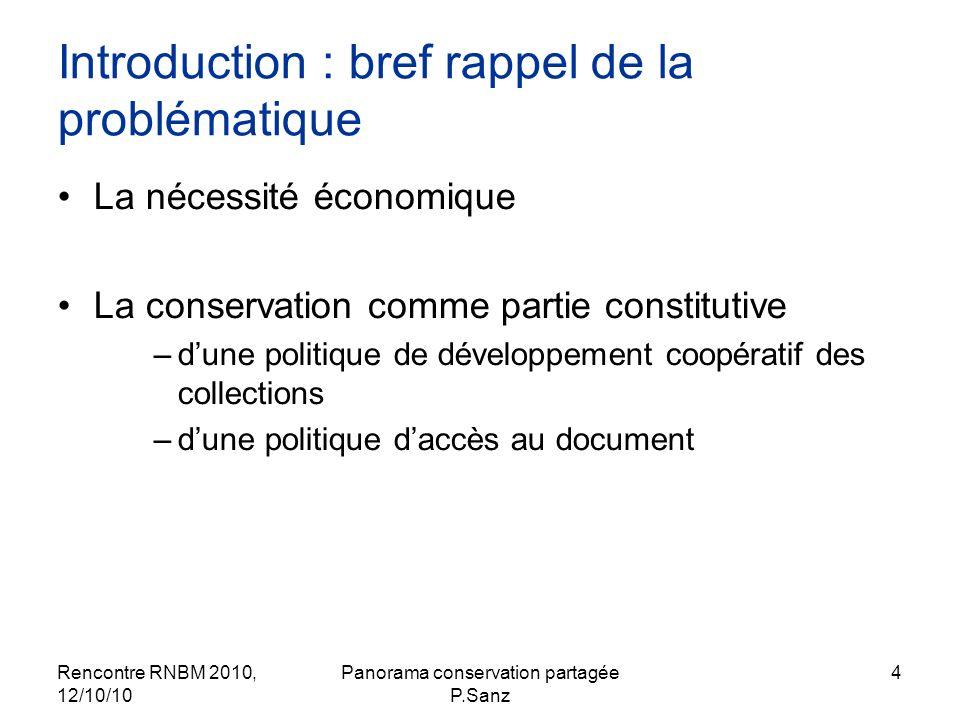 Rencontre RNBM 2010, 12/10/10 Panorama conservation partagée P.Sanz 4 Introduction : bref rappel de la problématique La nécessité économique La conser