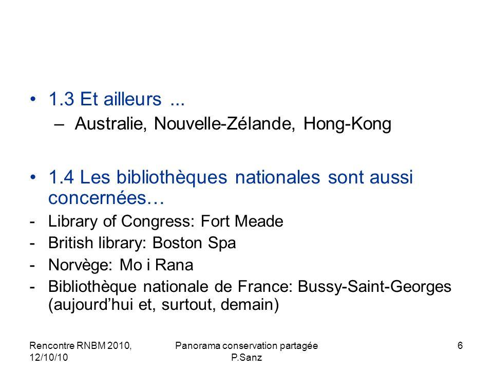 Rencontre RNBM 2010, 12/10/10 Panorama conservation partagée P.Sanz 17 2.2.3 Conservation partagée dun type de documents dans un segment éditorial ou une discipline 2.2.3.1 Programmes régionaux de conservation répartie des fonds jeunesse Opérateurs : les SRL Le premier: plan de la région PACA Nombre de régions concernées : 11 Objectif et principe : - partout livres + revues (en Ile-de-France : tous types de documents) - bibliothèques publiques ; dans quelques régions tous types de bib.