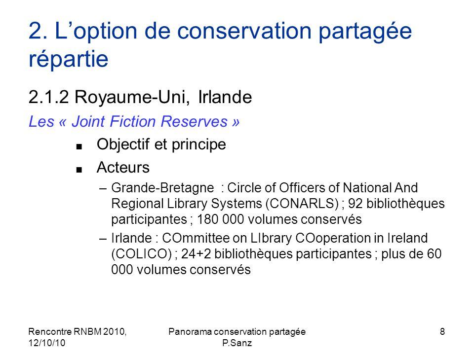 Rencontre RNBM 2010, 12/10/10 Panorama conservation partagée P.Sanz 19 Les enjeux de la conservation partagée Au moins 4 types denjeux: - pratique, matériel -économique, -patrimonial, -de services.