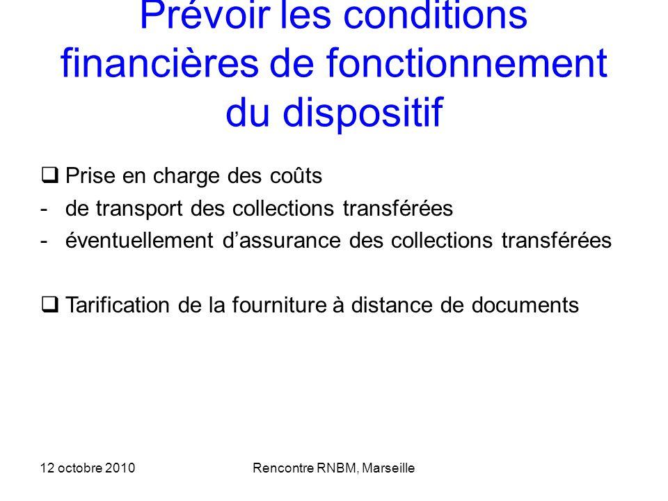 Prévoir les conditions financières de fonctionnement du dispositif Prise en charge des coûts -de transport des collections transférées -éventuellement