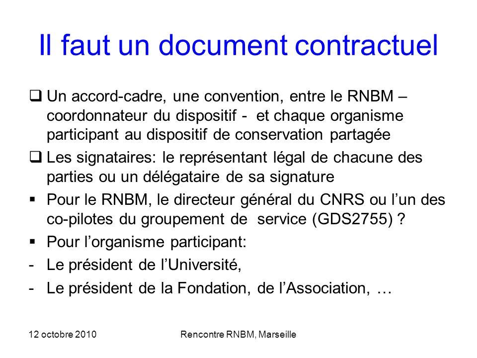 12 octobre 2010Rencontre RNBM, Marseille Il faut un document contractuel Un accord-cadre, une convention, entre le RNBM – coordonnateur du dispositif
