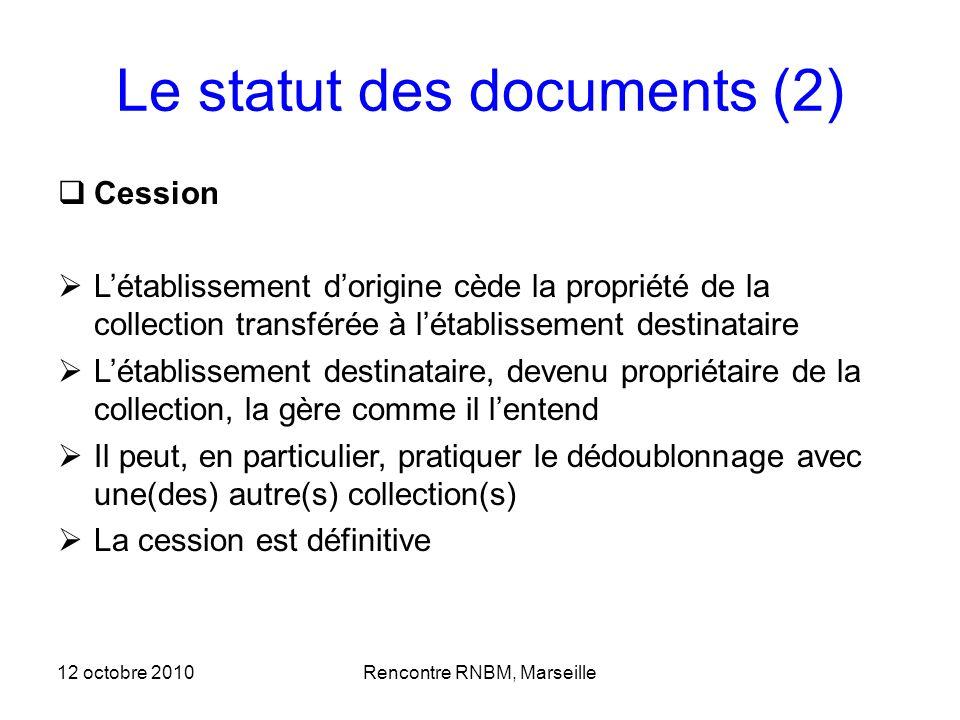 Le statut des documents (2) Cession Létablissement dorigine cède la propriété de la collection transférée à létablissement destinataire Létablissement