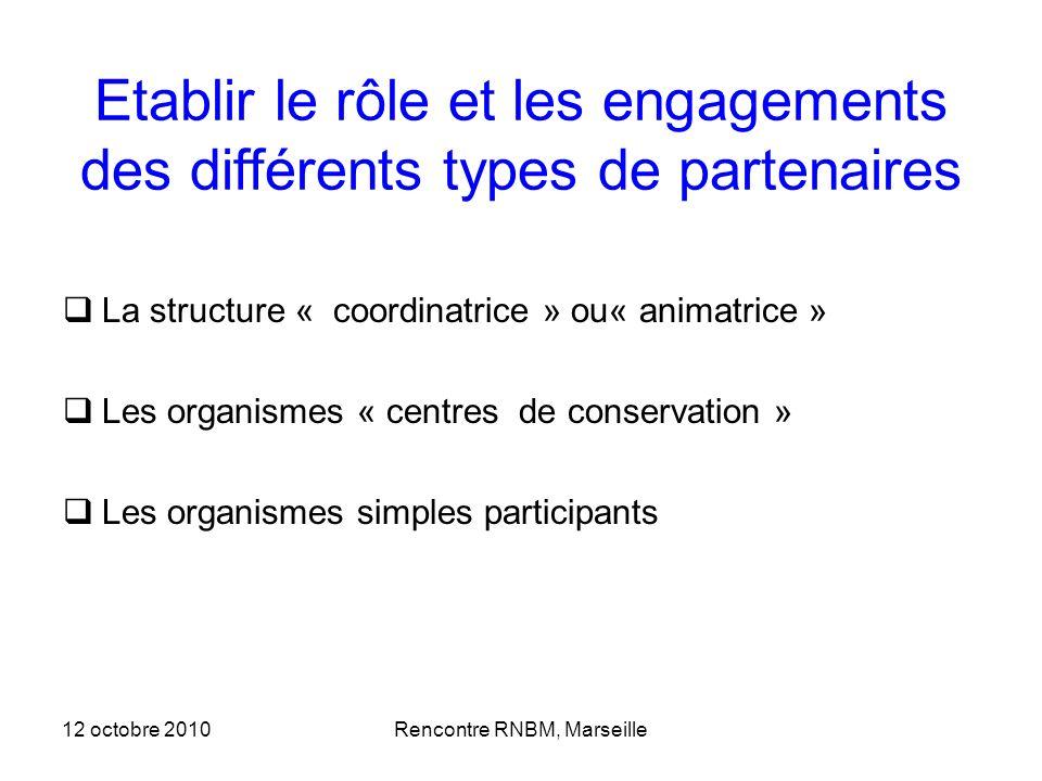 12 octobre 2010Rencontre RNBM, Marseille Etablir le rôle et les engagements des différents types de partenaires La structure « coordinatrice » ou« ani