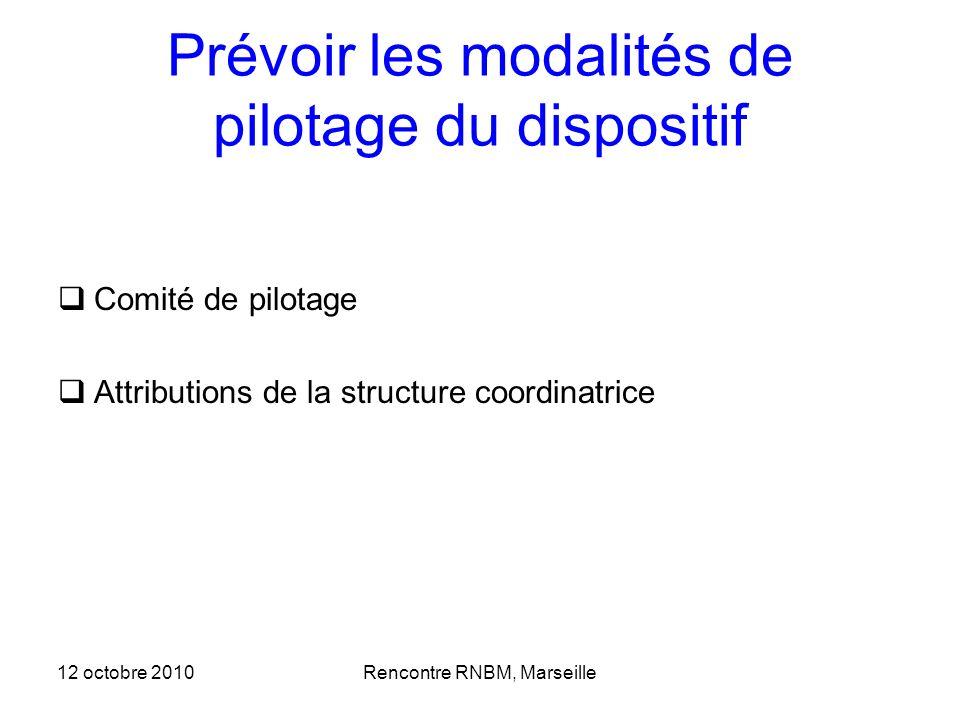 Prévoir les modalités de pilotage du dispositif Comité de pilotage Attributions de la structure coordinatrice 12 octobre 2010Rencontre RNBM, Marseille