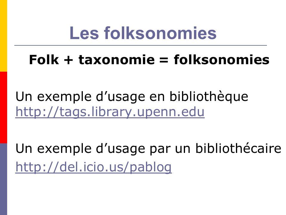 Les folksonomies Folk + taxonomie = folksonomies Un exemple dusage en bibliothèque http://tags.library.upenn.edu http://tags.library.upenn.edu Un exemple dusage par un bibliothécaire http://del.icio.us/pablog
