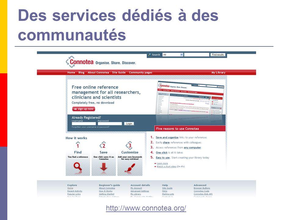 Des services dédiés à des communautés http://www.connotea.org/