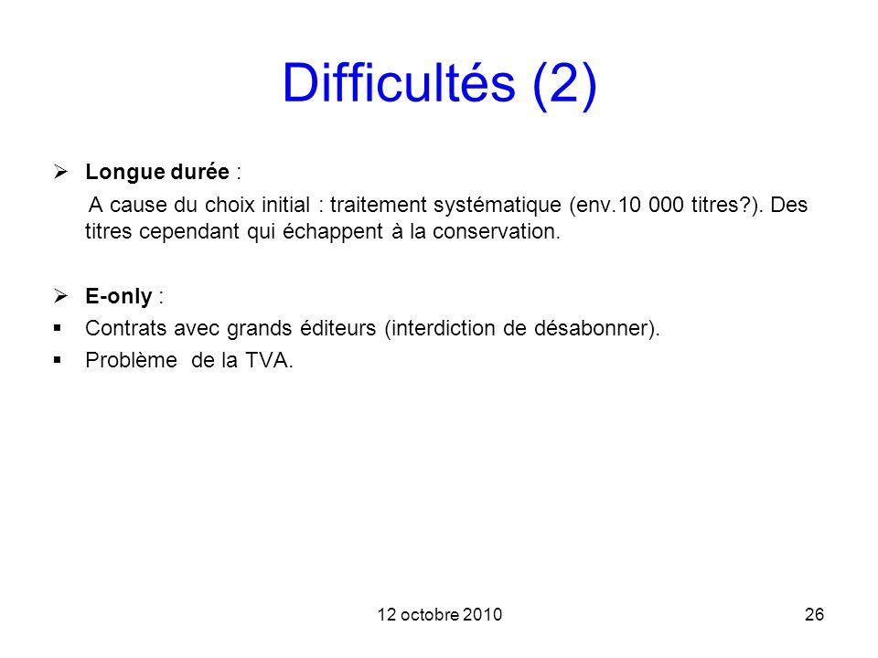 12 octobre 201026 Difficultés (2) Longue durée : A cause du choix initial : traitement systématique (env.10 000 titres?). Des titres cependant qui éch