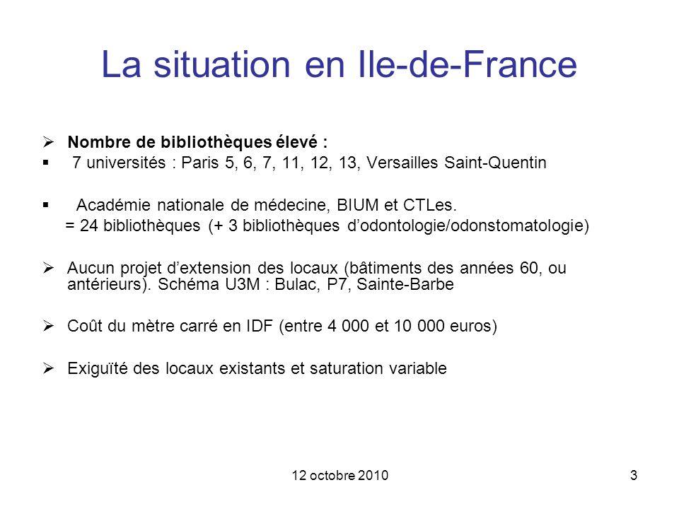 12 octobre 20103 La situation en Ile-de-France Nombre de bibliothèques élevé : 7 universités : Paris 5, 6, 7, 11, 12, 13, Versailles Saint-Quentin Aca