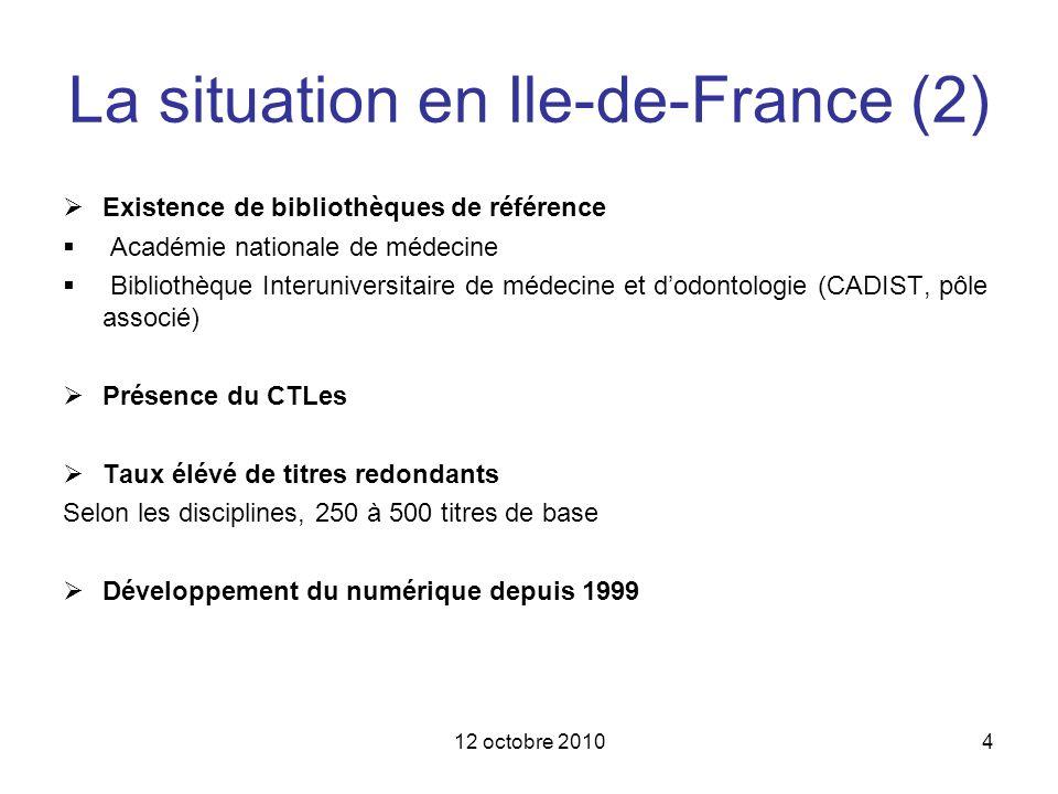 12 octobre 20104 La situation en Ile-de-France (2) Existence de bibliothèques de référence Académie nationale de médecine Bibliothèque Interuniversita