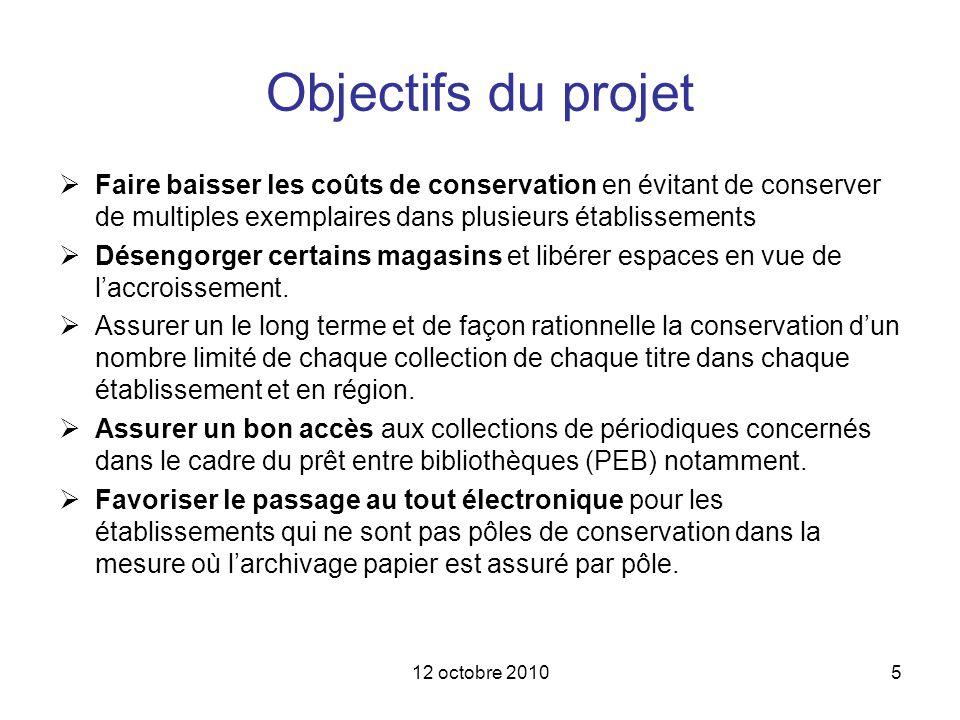 12 octobre 20105 Objectifs du projet Faire baisser les coûts de conservation en évitant de conserver de multiples exemplaires dans plusieurs établisse