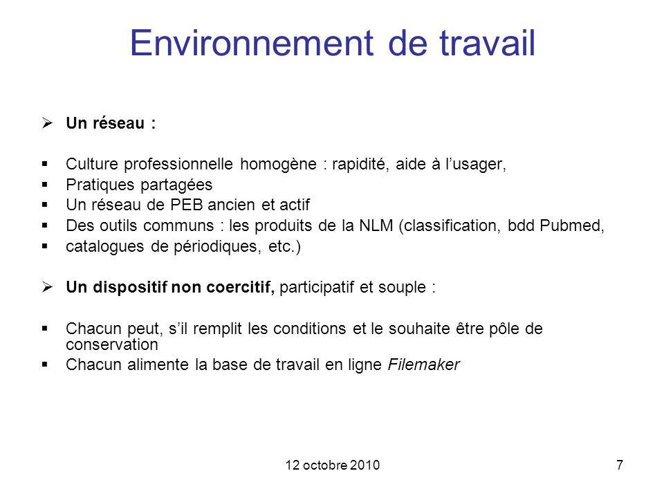 12 octobre 20107 Environnement de travail Un réseau : Culture professionnelle homogène : rapidité, aide à lusager, Pratiques partagées Un réseau de PE