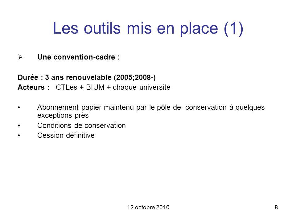 12 octobre 20108 Les outils mis en place (1) Une convention-cadre : Durée : 3 ans renouvelable (2005;2008-) Acteurs : CTLes + BIUM + chaque université