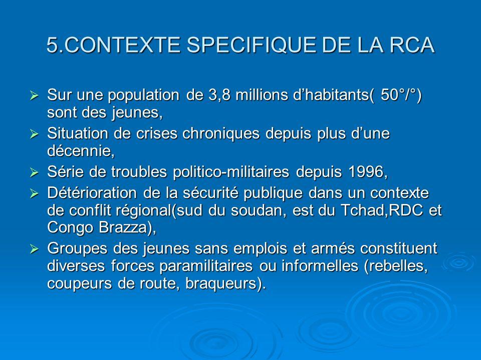 5.CONTEXTE SPECIFIQUE DE LA RCA Sur une population de 3,8 millions dhabitants( 50°/°) sont des jeunes, Sur une population de 3,8 millions dhabitants( 50°/°) sont des jeunes, Situation de crises chroniques depuis plus dune décennie, Situation de crises chroniques depuis plus dune décennie, Série de troubles politico-militaires depuis 1996, Série de troubles politico-militaires depuis 1996, Détérioration de la sécurité publique dans un contexte de conflit régional(sud du soudan, est du Tchad,RDC et Congo Brazza), Détérioration de la sécurité publique dans un contexte de conflit régional(sud du soudan, est du Tchad,RDC et Congo Brazza), Groupes des jeunes sans emplois et armés constituent diverses forces paramilitaires ou informelles (rebelles, coupeurs de route, braqueurs).