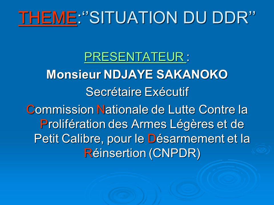 THEME:SITUATION DU DDR PRESENTATEUR : Monsieur NDJAYE SAKANOKO Secrétaire Exécutif Commission Nationale de Lutte Contre la Prolifération des Armes Légères et de Petit Calibre, pour le Désarmement et la Réinsertion (CNPDR)