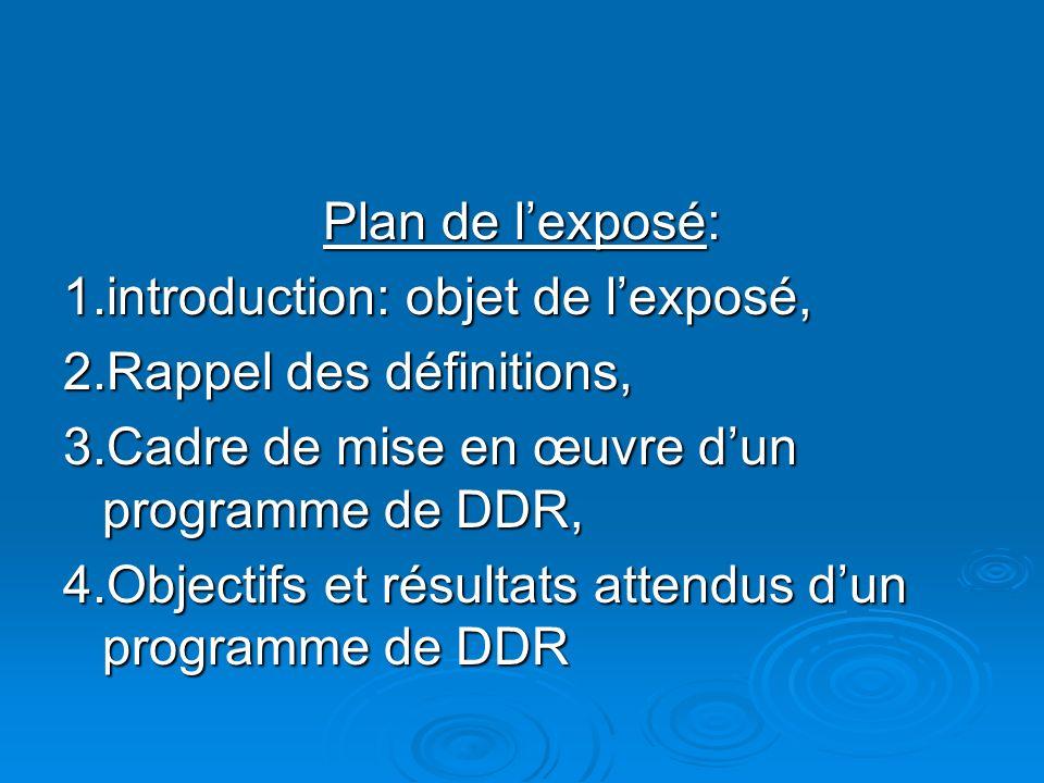 Plan de lexposé: 1.introduction: objet de lexposé, 2.Rappel des définitions, 3.Cadre de mise en œuvre dun programme de DDR, 4.Objectifs et résultats attendus dun programme de DDR
