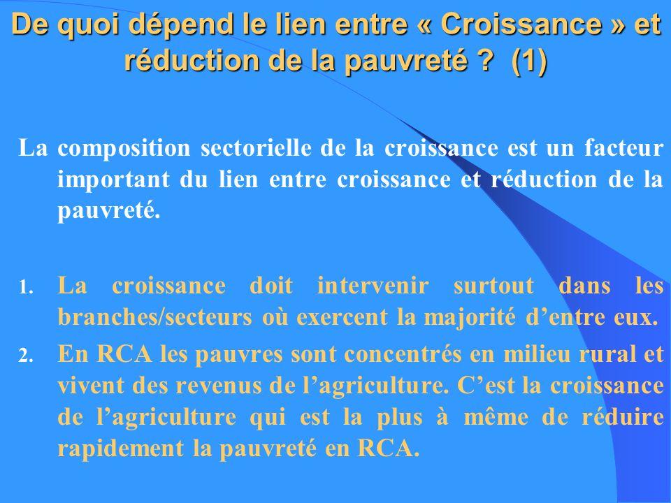 De quoi dépend le lien entre « Croissance » et réduction de la pauvreté ? (1) La composition sectorielle de la croissance est un facteur important du