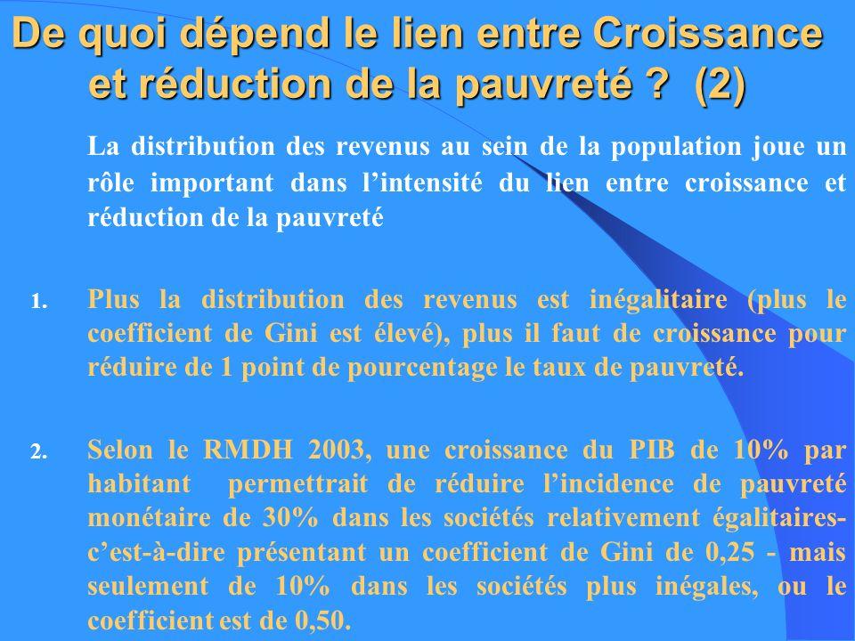 De quoi dépend le lien entre Croissance et réduction de la pauvreté ? (2) La distribution des revenus au sein de la population joue un rôle important