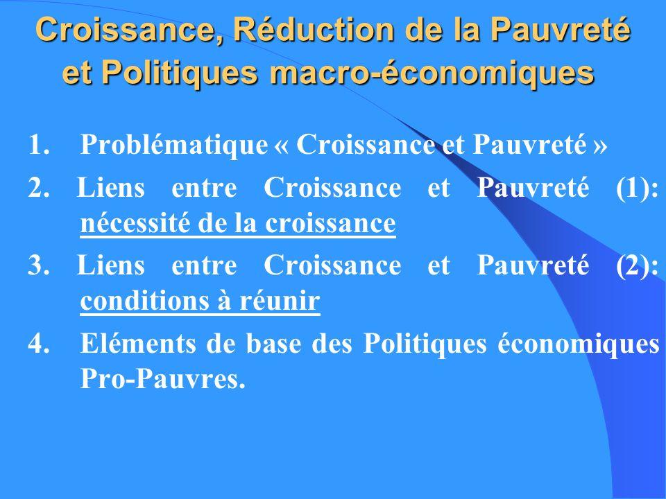 Croissance, Réduction de la Pauvreté et Politiques macro-économiques Croissance, Réduction de la Pauvreté et Politiques macro-économiques 1. Problémat