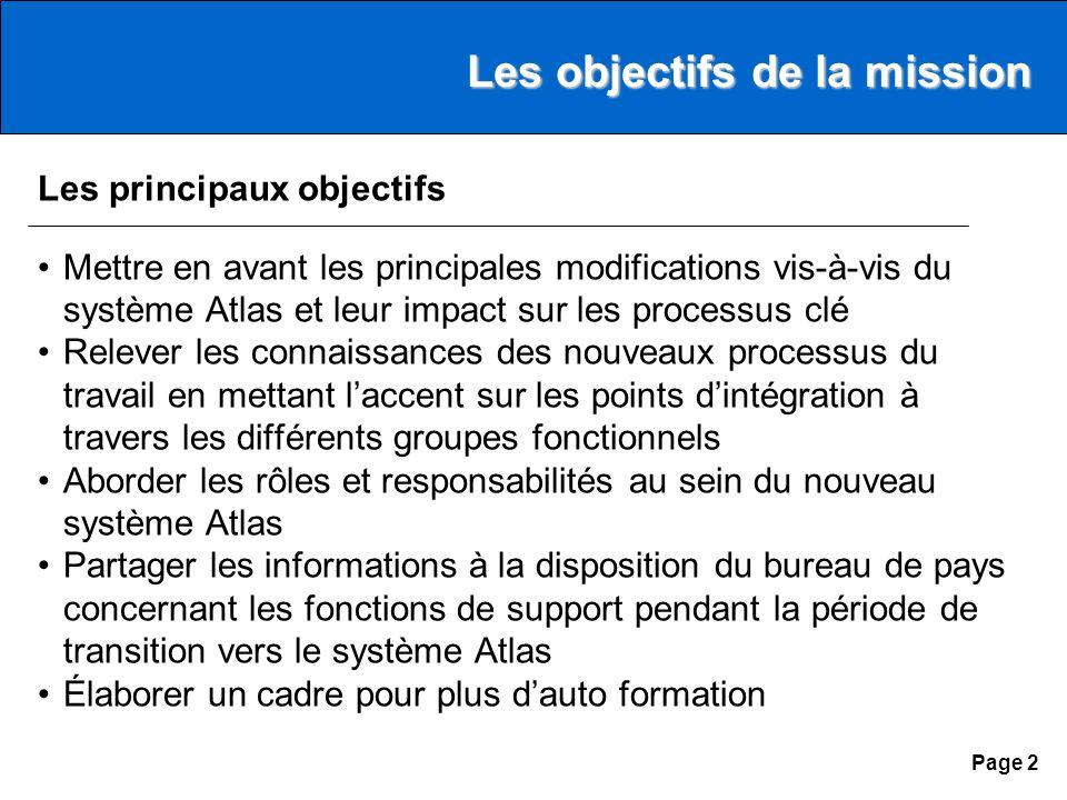 Page 1 Agenda Les objectifs de la mission Les principales modifications Les perspectives davenir