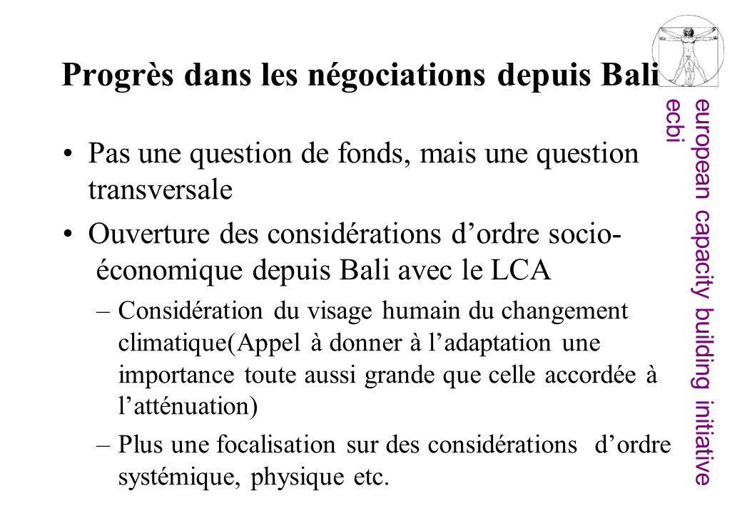 european capacity building initiativeecbi Progrès dans les négociations depuis Bali Pas une question de fonds, mais une question transversale Ouvertur