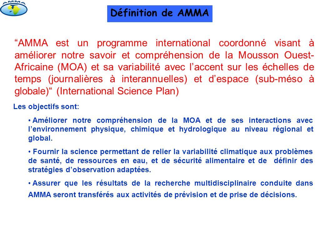 AMMA est un programme international coordonné visant à améliorer notre savoir et compréhension de la Mousson Ouest- Africaine (MOA) et sa variabilité