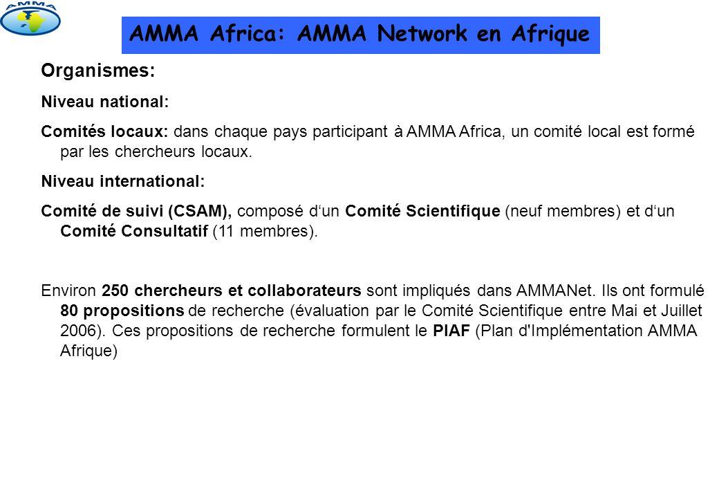 AMMA Africa: AMMA Network en Afrique Organismes: Niveau national: Comités locaux: dans chaque pays participant à AMMA Africa, un comité local est form