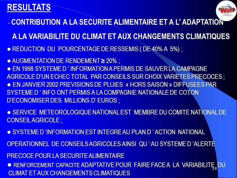 14 RESULTATS - CONTRIBUTION A LA SECURITE ALIMENTAIRE ET A L ADAPTATION A LA VARIABILITE DU CLIMAT ET AUX CHANGEMENTS CLIMATIQUES REDUCTION DU POURCEN