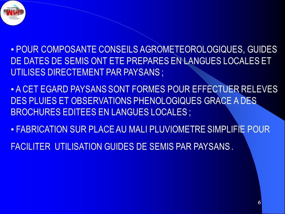 6 POUR COMPOSANTE CONSEILS AGROMETEOROLOGIQUES, GUIDES DE DATES DE SEMIS ONT ETE PREPARES EN LANGUES LOCALES ET UTILISES DIRECTEMENT PAR PAYSANS ; A C